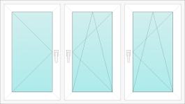 Okno PCV trzyskrzydłowe - rozwierne, rozwiernouchylne, rozwierne