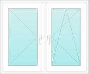 Okno PCV dwuskrzydłowe - rozwiernouchylne, rozwierne
