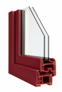 Okna Veka - okleina w kolorze bordowym
