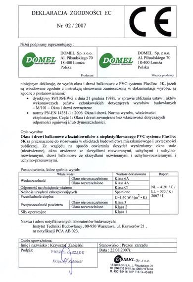 certyfikat - deklaracja zgodności ce - faktor bydgoszcz